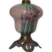 Lovely Iris Hand Painted Milk Glass Lamp Base
