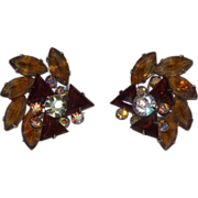 Sophisticated Bold Amber Spray Rhinestone Clip Earrings