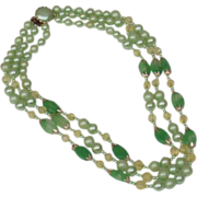 Mint Green Faux Pearl, Stone and Crystal Three Strand Mid Century Vintage Necklace, Signed Japan