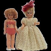Pair of Lovely Mid Century Miniature Dress Me Dolls