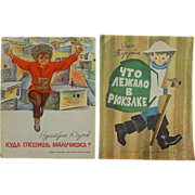 3 Vintage 1970's Russian Children's Books Printed in the USSR