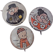 1945 Three Kellogg's Pep Pinback Button's Herbie, Mama Katzenjammer & The Captain