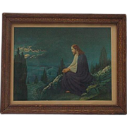 "Vintage Lithograph ""Jesus on the Mount Gethsemane"""