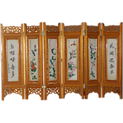 Enchanting Mini Tabletop Oriental Two Sides Hand Painted Vintage Screen Room Divider Screen