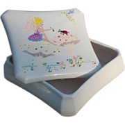 Large Expertly Designed and Hand Painted Ceramic Box with Fairy Scene Vintage 1969