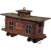 Winsome Old Lichen Covered Wood Caboose Folk Art Display Piece or Bird House - Red Tag Sale Item