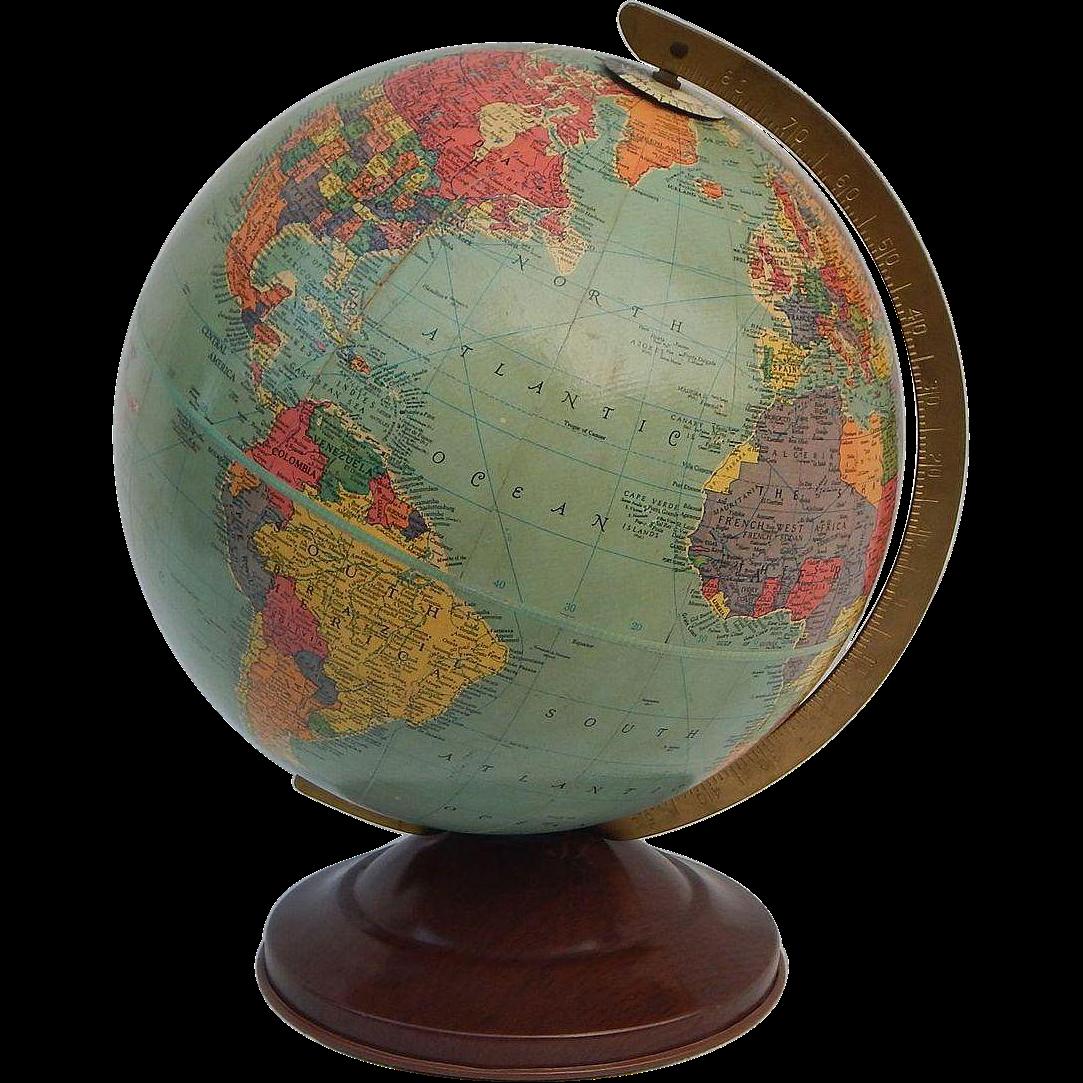 C1948 Vintage Replogle 10 Inch Precision Globe Gustav