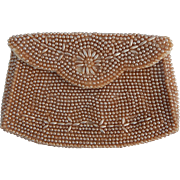 1950's Mocha Faux Pearl Evening Clutch Purse