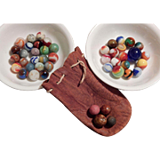 Nice! Circa 1960's Marbles with Leather Pouch