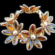Petite Amber Rhinestone Petals and Pearls Daisy Vintage Bracelet
