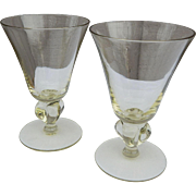 Distinctive Pair of Crystal Martini Stemless Vintage Yellow Cocktail Glasses