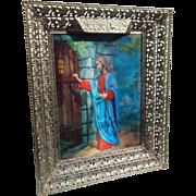 Illuminated Metal Gold Tone Filigree Frame Jesus Portrait Religious Hologram Picture