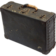 c1910 Solid Brass Corbin Cabinet Lock Co. and Eagle Lock Co. Latches Black Vulcanized Fibre Trunk Suitcase