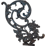 Fabulous Gargoyle Cast Iron Scrolls and Flowers Architectural Salvage Decorative Garden or Wall Piece