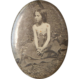 Historical Native American Child Puberty Native Blanket Medallian Photo Celluloid Pocket Mirror