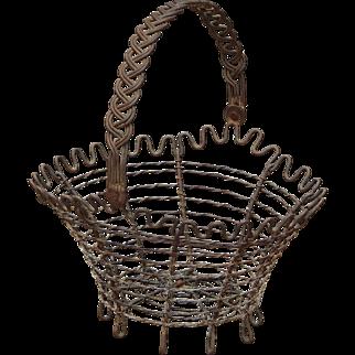 Metal Swing Handle Wire Flower Porch Kitchen or Egg Basket
