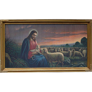 """Chromolithograph The Good Shepherd by Josef Untersberger GIOVANNI with Gold Gilt Frame Large 33"""" X 19"""""""