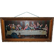 C1940 Gorgeous Lit Box Wood Frame Reverse Painted Leviton Sockets Jesus Last Supper Vintage Picture