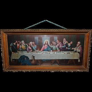 Large Fabulous Reverse Painted Leviton Socket Lighted Gorgeous Wood Box Frame Jesus Last Supper Vintage Picture