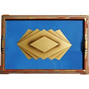 Bold Art Deco Vintage Tray Wall Art Sky Blue and Gold Geometric Print Design Under Glass