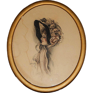 Signed Original Edwardian Pastel Pencil Color Wash Hat Fashion Portrait by Arta Banta in the Style of Harrison Fisher