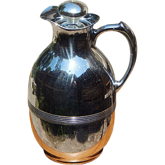 Early Chrome c 1930 Landers Frary & Clark Universal Glass Lined Thermos Carafe with Original Mercury Glass Stopper