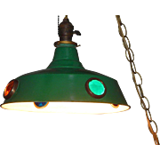 Antique Pool Hall Billiard Painted Metal Shade with Brass Ringed Colored Jewel Faceted Medallions Leviton Arrow Socket Hubbell Brass Shade Fitter