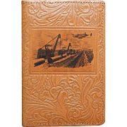 c1938 Oil Industry Lockheed Aircraft Advertisement Novelty Tooled Leather Wallet Notepad