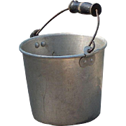 Wooden Handle Child Size Vintage Aluminum Berry Bucket Pail with Bail