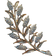 Kramer Diamante Wheat Flower Brooch Pin