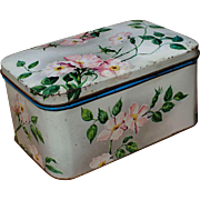 Western Germany Made Vintage Wild Rose Tin Container