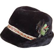 Bold Stetson Bavarian Style Faux Fur and Feather Hat