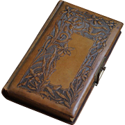 Art Nouveau Orchid Flowing Design Tooled Leather Vintage Photo Album