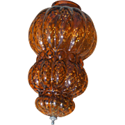 Mid Century Vintage Amber 3 Tiered Bubble Glass Shade for a Hanging Swag Lamp