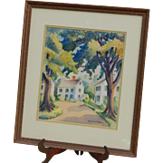 Original Listed Ruth Appleton Perkins Safford (1892-1979) Signed Framed Watercolor