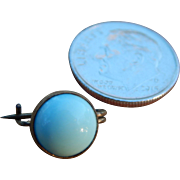 Tiny Pale Blue Brass Set Vintage Pin