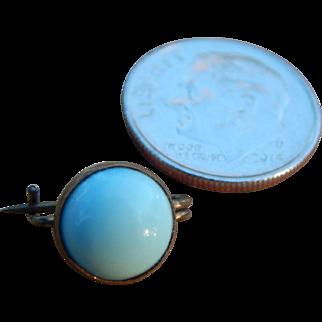 Tiny Pale Blue Brass Set Vintage Pin