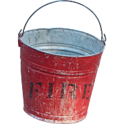 Old Metal Red Convex Bottom Fire Bucket