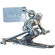 Sterling by Bell Colorado Tag Vintage Downhill Skier Charm