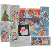 10 Unused Unsigned Beautiful Amalgamated Lithographers of America Local #1 Vintage Christmas Cards with Envelopes