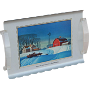 Small Winter Scene Vintage Metal Serving Tray 'Company For Supper by Dale Nichols'