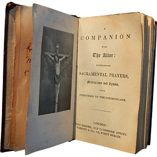 c1860 Inscribed Companion for the Altar Printed by Joseph Masters London Henry Brooks Barritt & Co.