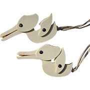1940 Vintage Cream Colored Baby Blanket Clips