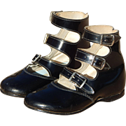 Sure Step High Top Shiny Black Faux Leather and Canvas Upper Mid Century Vintage Three Buckle Child or Doll Shoes