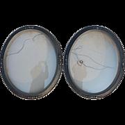 Pair Oval Antique Floral Accents Convex Glass Picture Frames Bubble Glass