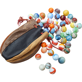 Vintage Multi Colored Leather Pouch with 50 Assorted Vintage Marbles