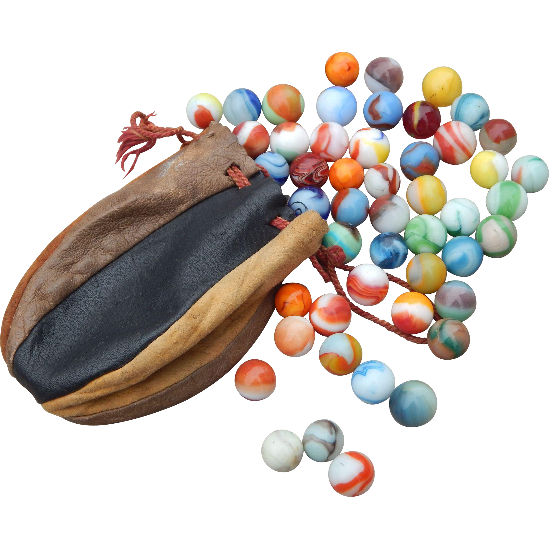 Single Colored Marbles : Vintage multi colored leather pouch with assorted