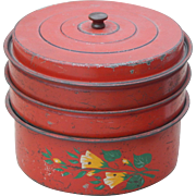 Vintage Painted Metal Red Stackable Food Pantry Storage