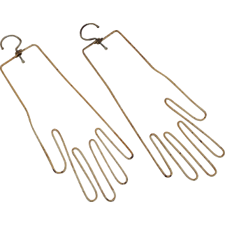 Pale Yellow Gold Vintage Wire Glove Forms with Swivel Hanger