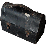 Leather Handled c1940 Vintage Metal Lunch Box